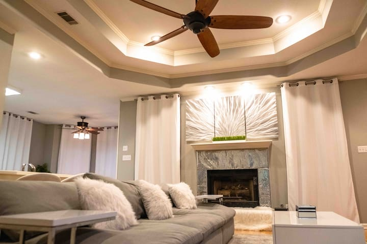 Living Room with Comfy couch and gas fireplace