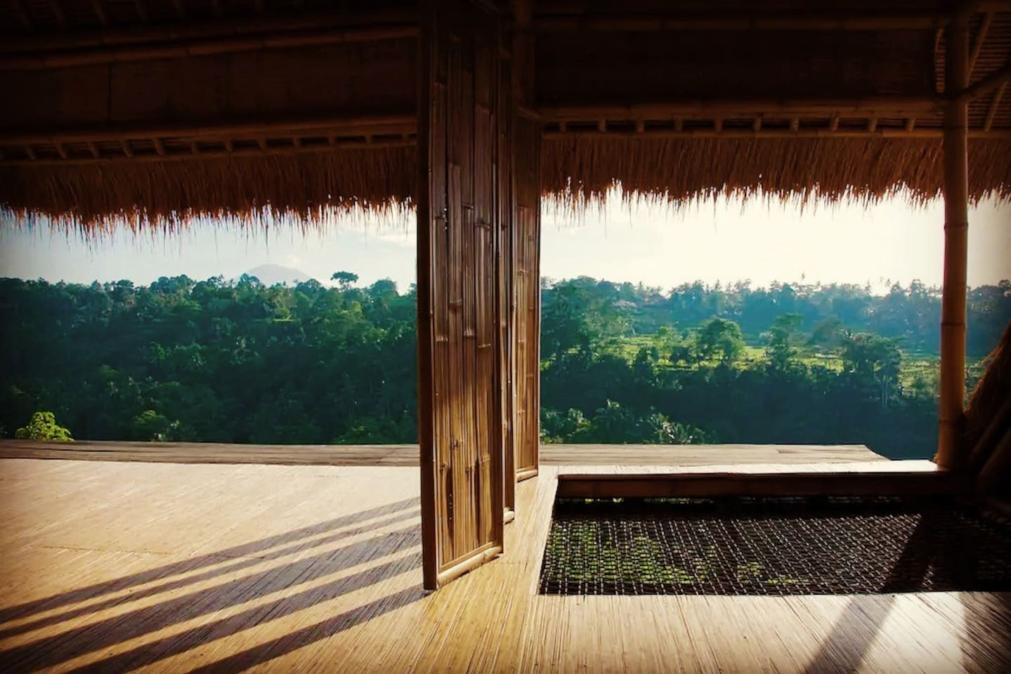 Panorama Room with a view to Ayung River Gorge Mt. Agung afar. Designed to bring you closer to nature! You will feel the mystic and magic of the nature in front of you with the change of weather, disappearing and reappearing. It is ephemeral!