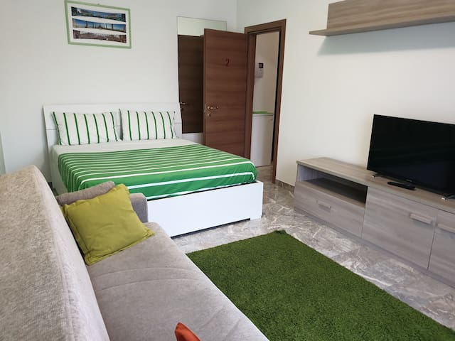 First room with: Balcony ;  Queen size bed  ; Tv ; Wardrobe ; Sofa bed ; Air conditioning