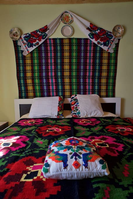 Master double bed in our Family Room at Casa Carolina, Cupseni.