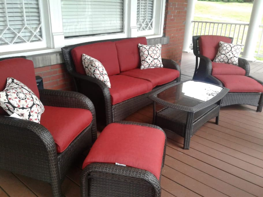 New patio set for front porch. Shared with other guests in building. Overlooking a beautiful and quiet street