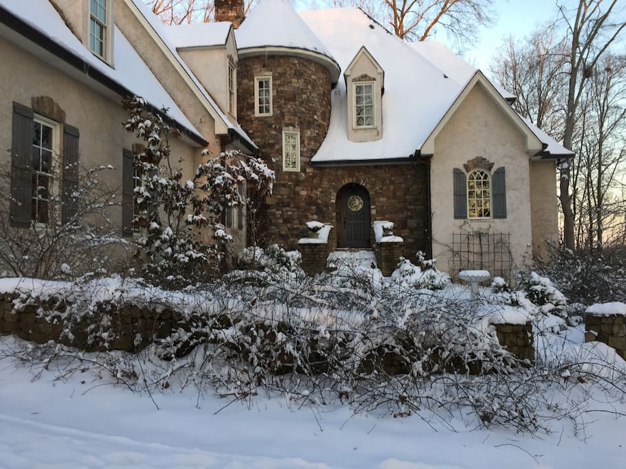 Front view of house in winter