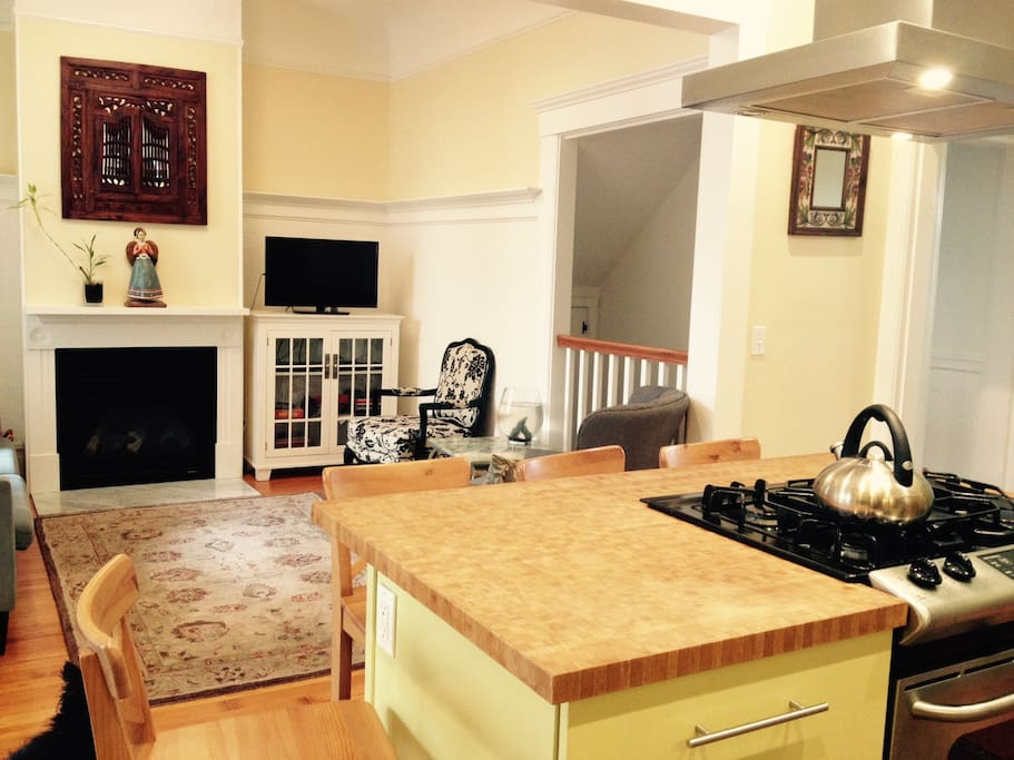 Kitchen / Family Room Combo with Gas Fireplace