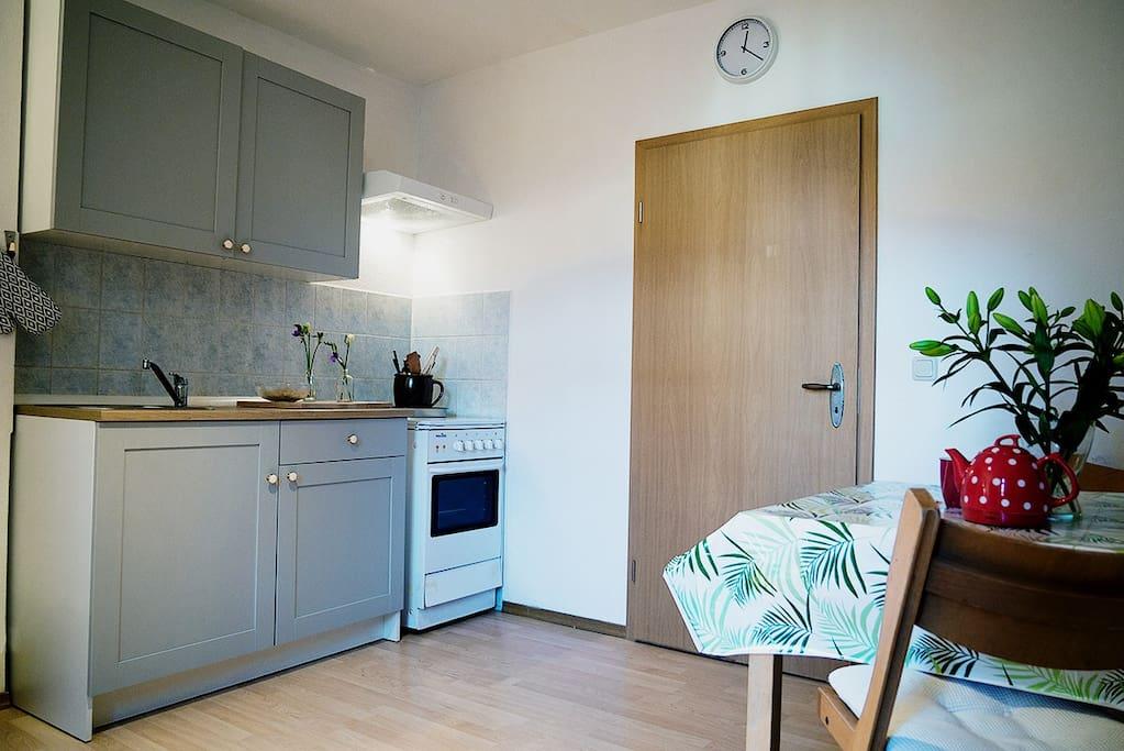 Blick in die Küche! Hinter der Tür  befindet sich das kleine Schlafzimmer!