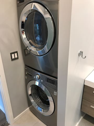 In-unit washer and dryer are located in the bathroom.