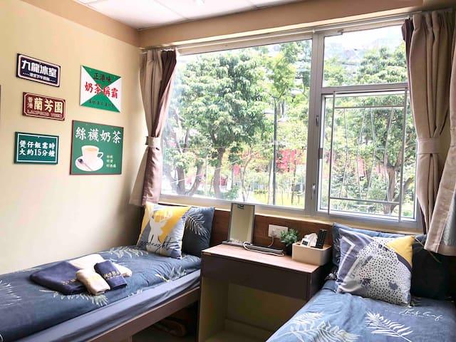 ≛108阿木 Classic Twin Room City View, TST MTR 4mins≛