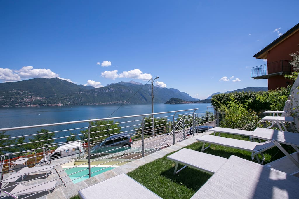 Sun bathing on the shared swimming pool area with breathtaking view of the lake