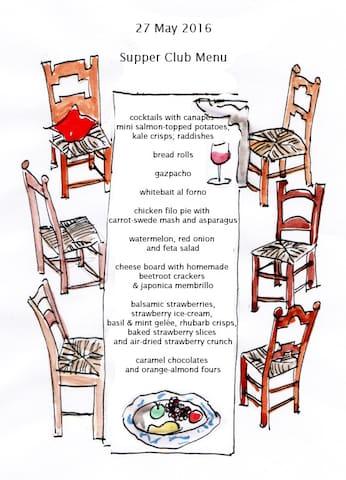 Sample supper club menu
