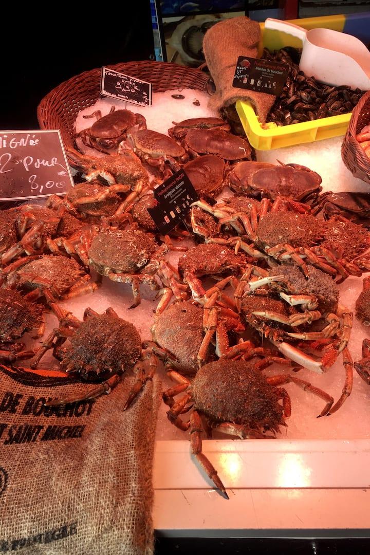 fruits de mer sur le marché