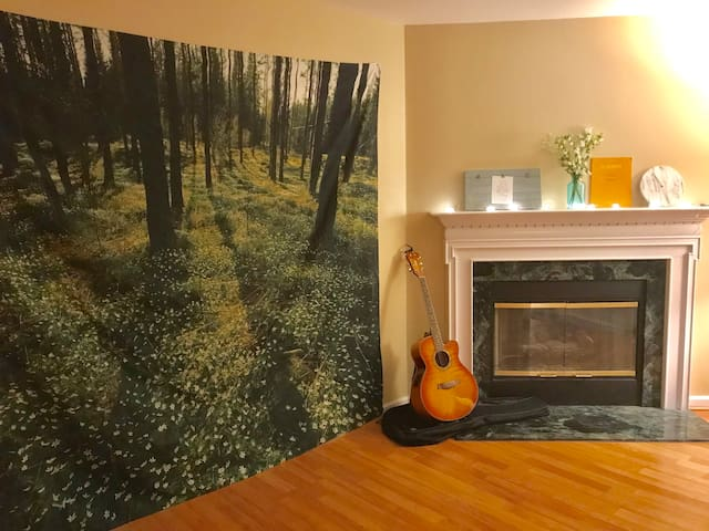 Minimalistic Art Room close to I-74!+ free coffee