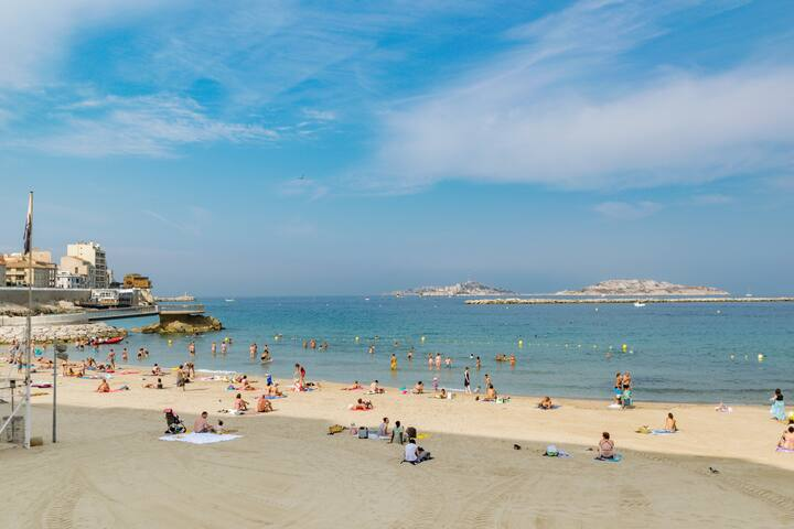 Chambre avec balcon proche plage des catalans