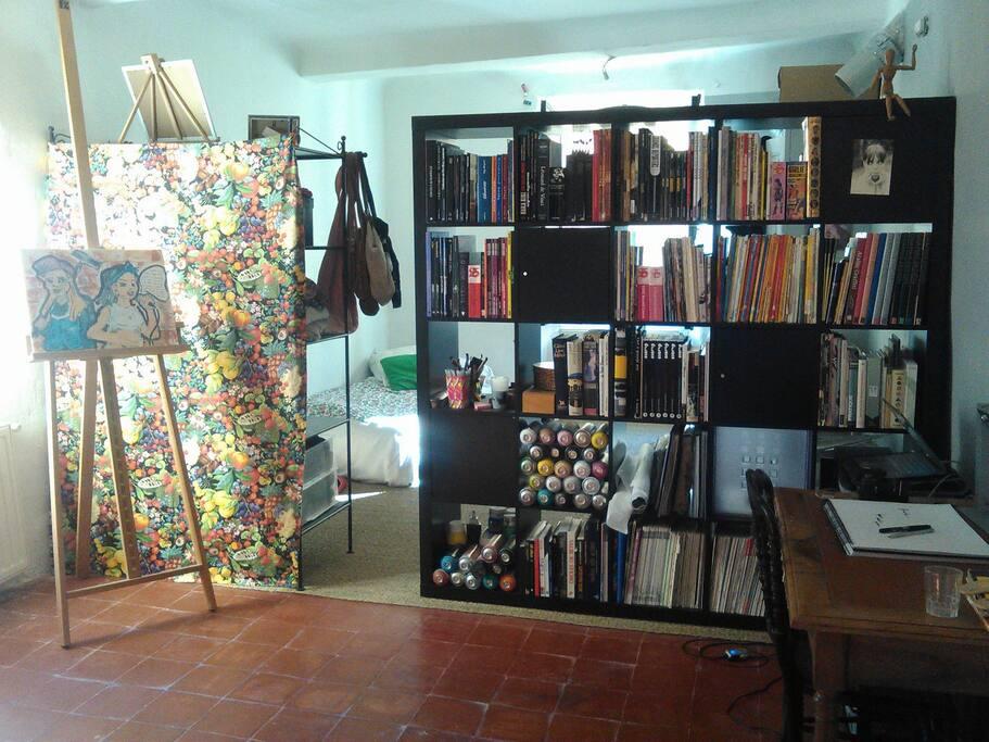 Chambre équipée d'une bibliothèque bien fournie en BD, livre de photographie, art ...