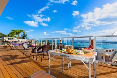 ★人気の古宇利島★ocean view!BBQ機材完備!庭付きの広々ウッドデッキ♪