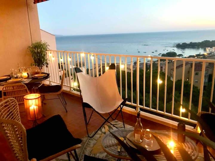 Terrasse vue mer et îles Sanguinaires plage à 5min