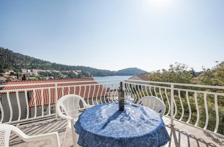 Apartments Brna Relax - One Bedroom Apartment  with Terrace and Sea View(A2)