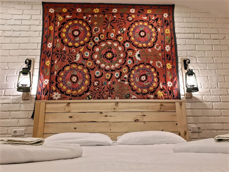 Handcrafted bed and decorations