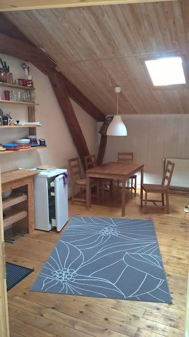 Gemütlicher Gemeinschaftsraum mit Kühlschrank, Kochplatte und Esstisch
