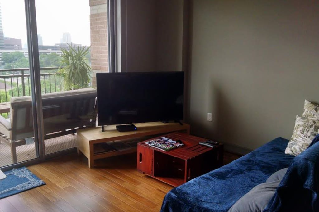 55 inch tv and comfortable sitting area