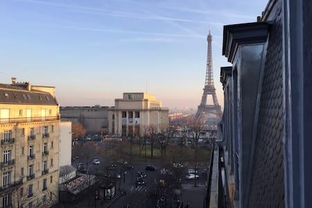Studio 2 pers, Trocadéro, vue sur la Tour Eiffel - Paris