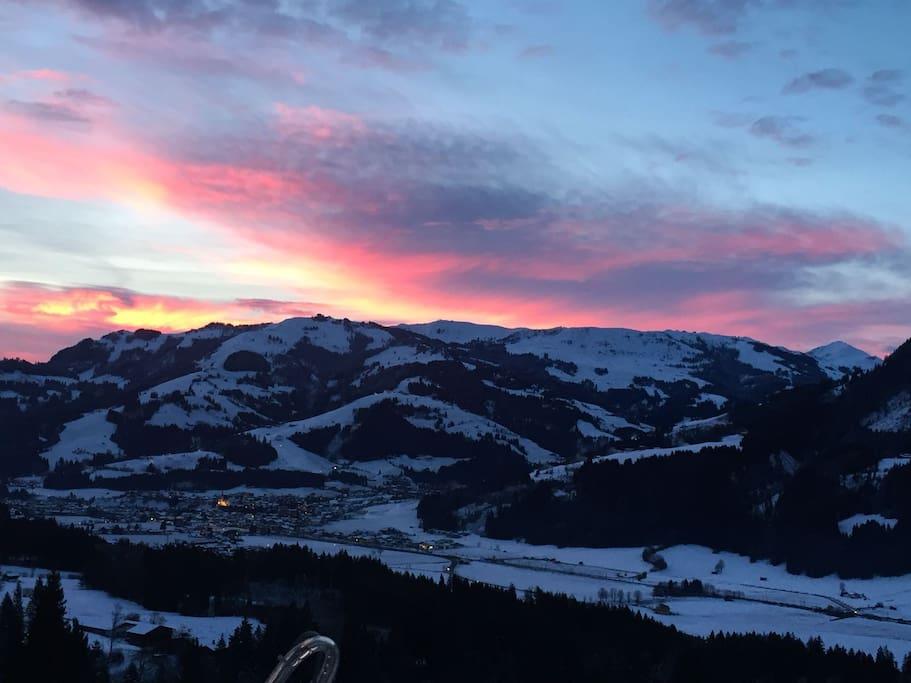 Terrassenausblick Sonnenaufgang