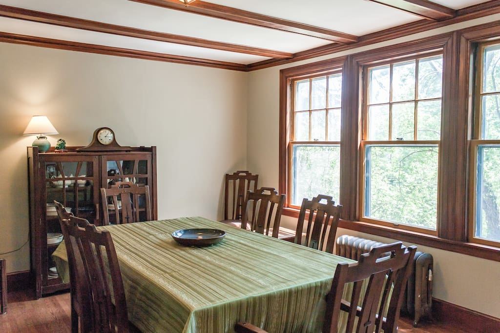 Enjoy meals in this formal dining room with seating for six.