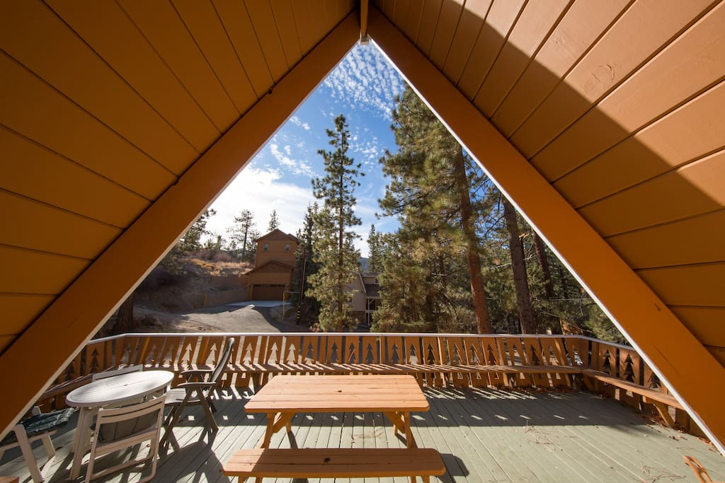Experience the magic of Big Bear views on our cabin's huge front deck!