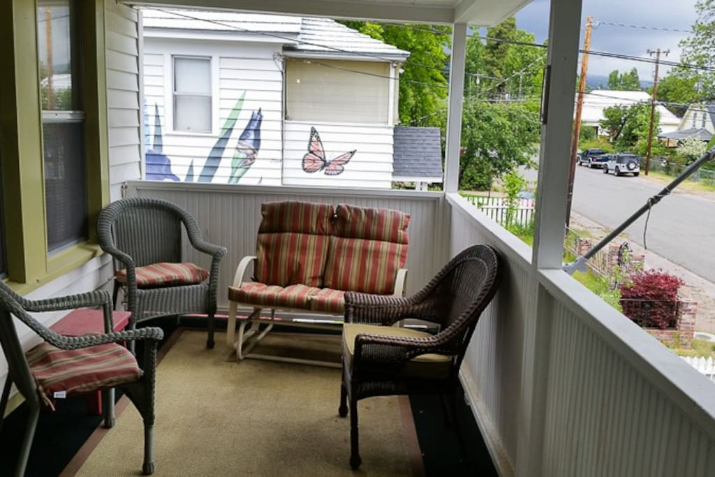Charming front porch upstairs