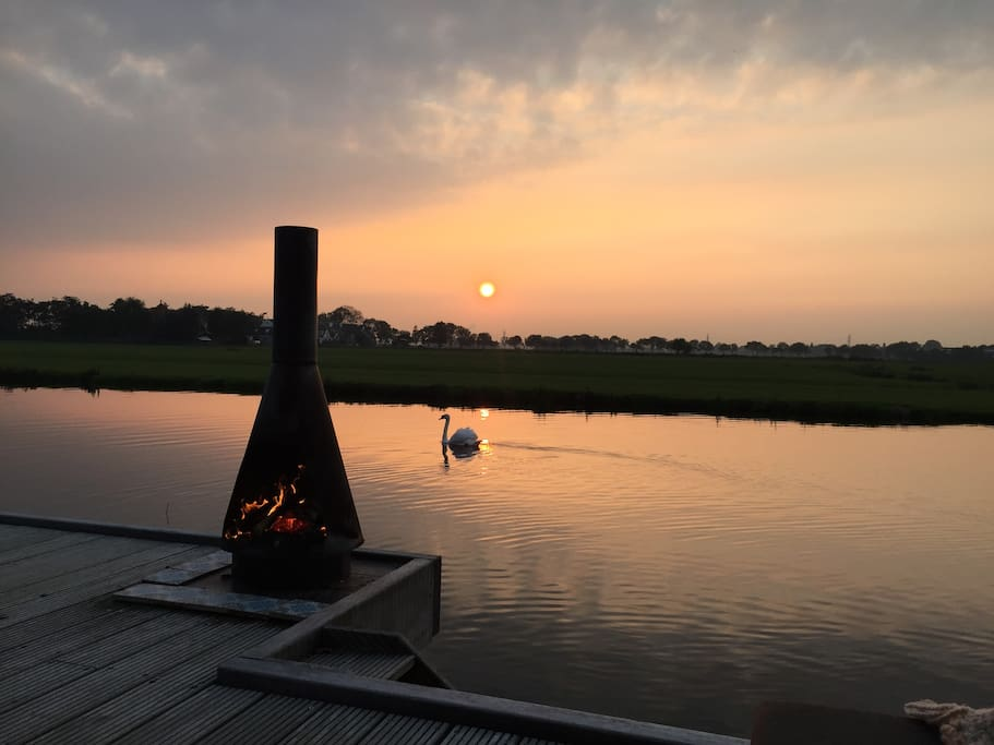 Sunset with stove and swan