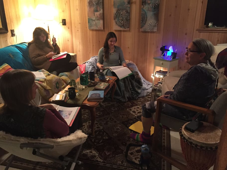 A small group discussion happening at the house.