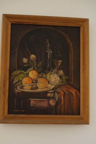 One of our original paintings on the walls.