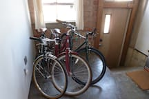 Loft's entrance and bikes.