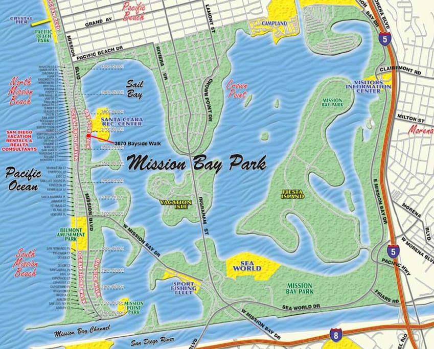 Map of Mission Bay with miles of bike trails