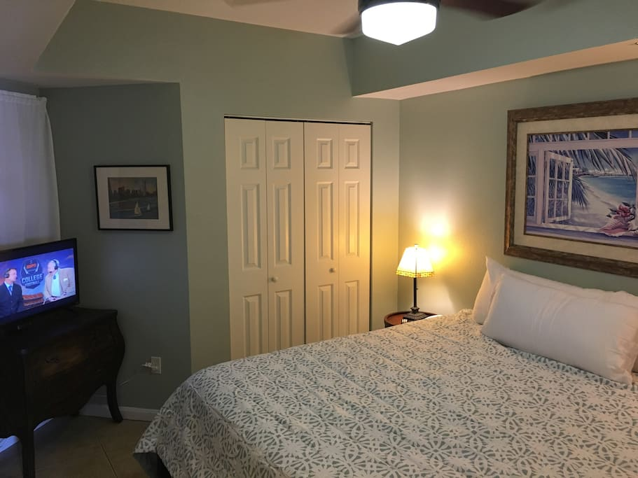 Master bedroom with New comfy King bed and flat screen TV.