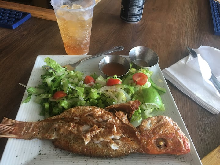 Fry fish  & a drink