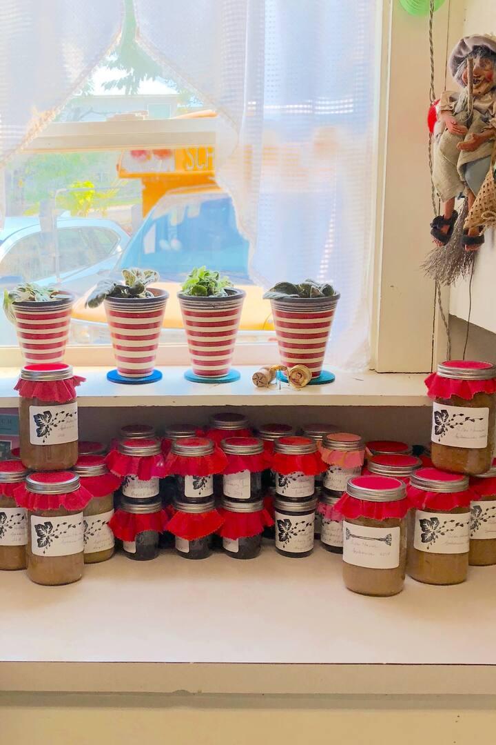 Jars of cherry and blackberry jam