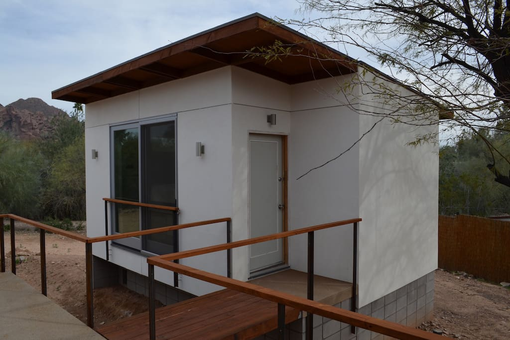 The casita includes a bedroom and full bathroom.