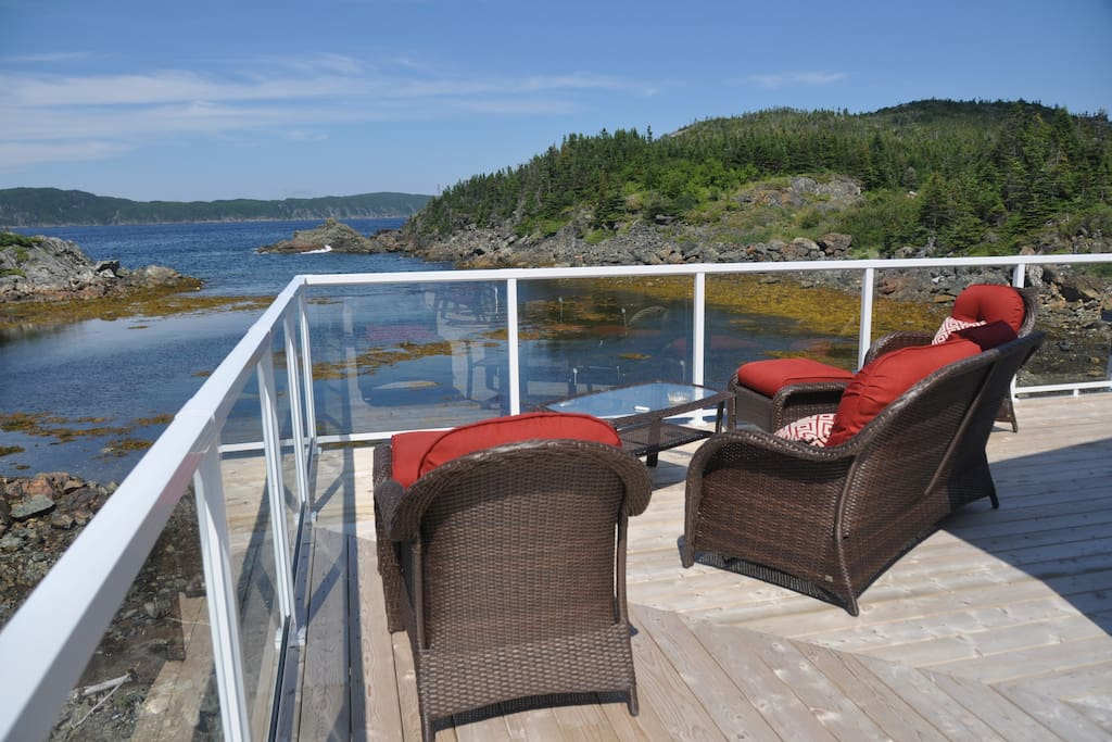 Amazing back deck with water all around!