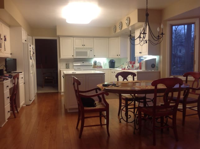 Huge fully equipped kitchen, shared space