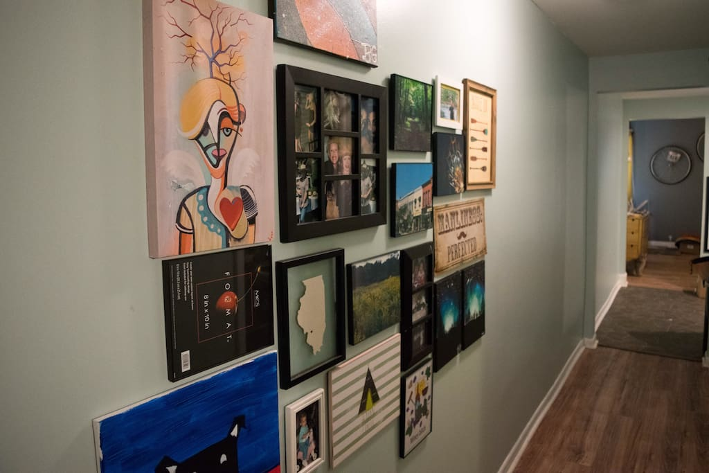 We love hanging our adventures on the wall. I am looking to add a pin board so all our visitors can leave something behind as well!