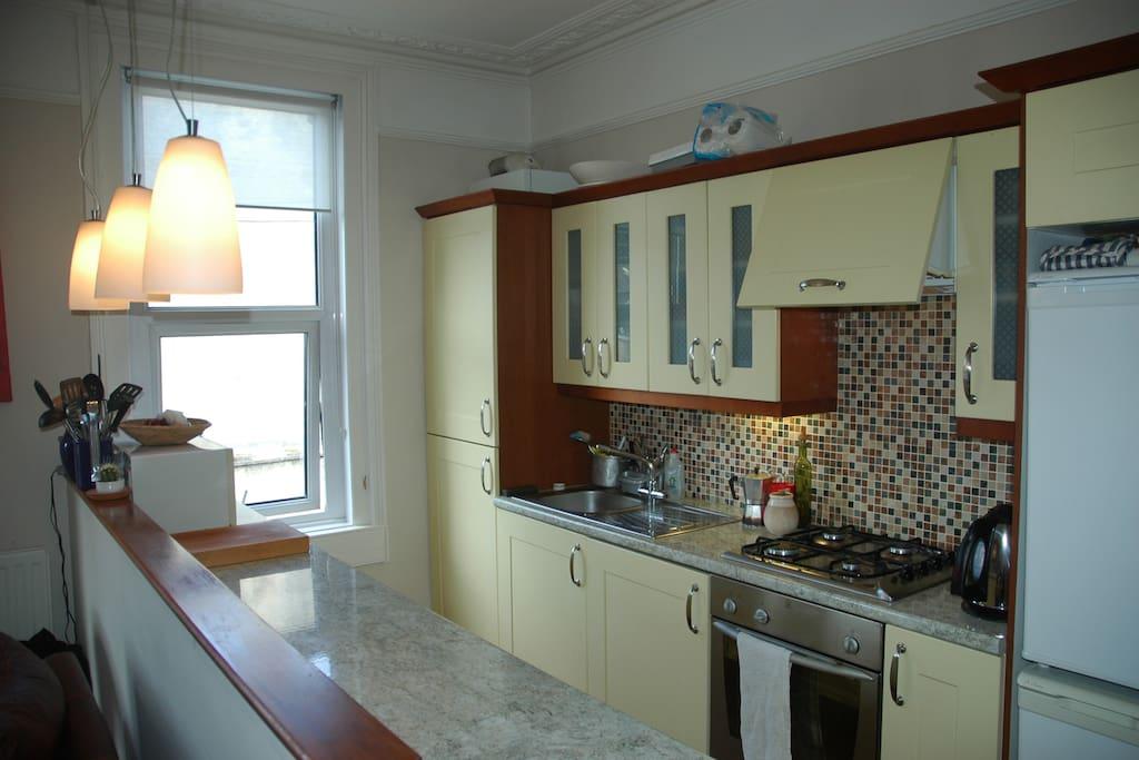 Galley open plan kitchen