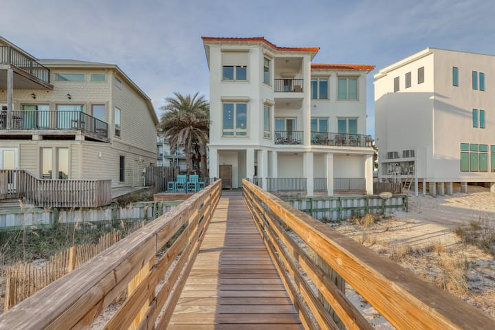 Beachfront home on the Gulf w/ private boardwalk, decks & covered parking!