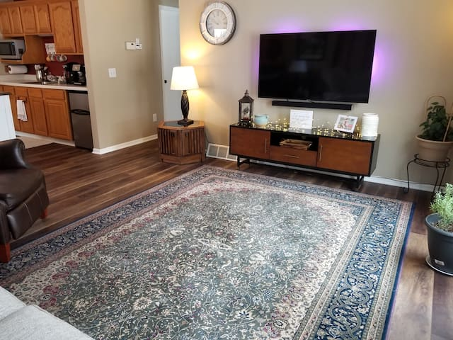 Your private living room includes a new smart TV that includes Directv Now as well as 33 local over the air channels.  Broadband WiFi is also available.