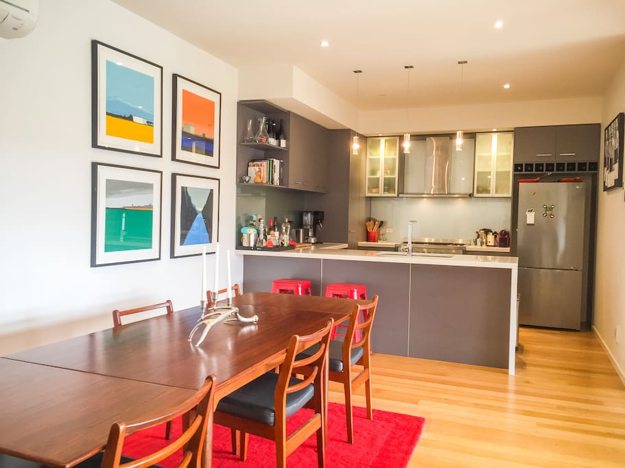 Open plan living area dinning table