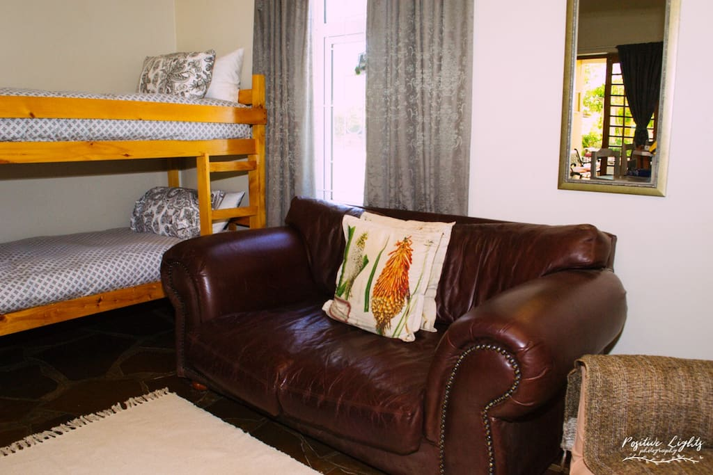 Double bunk bed in lounge area