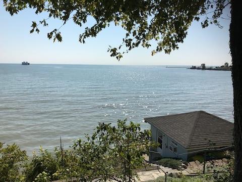 Small lake house on Lake Erie shore