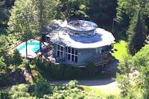 Aerial View of bnb & pool