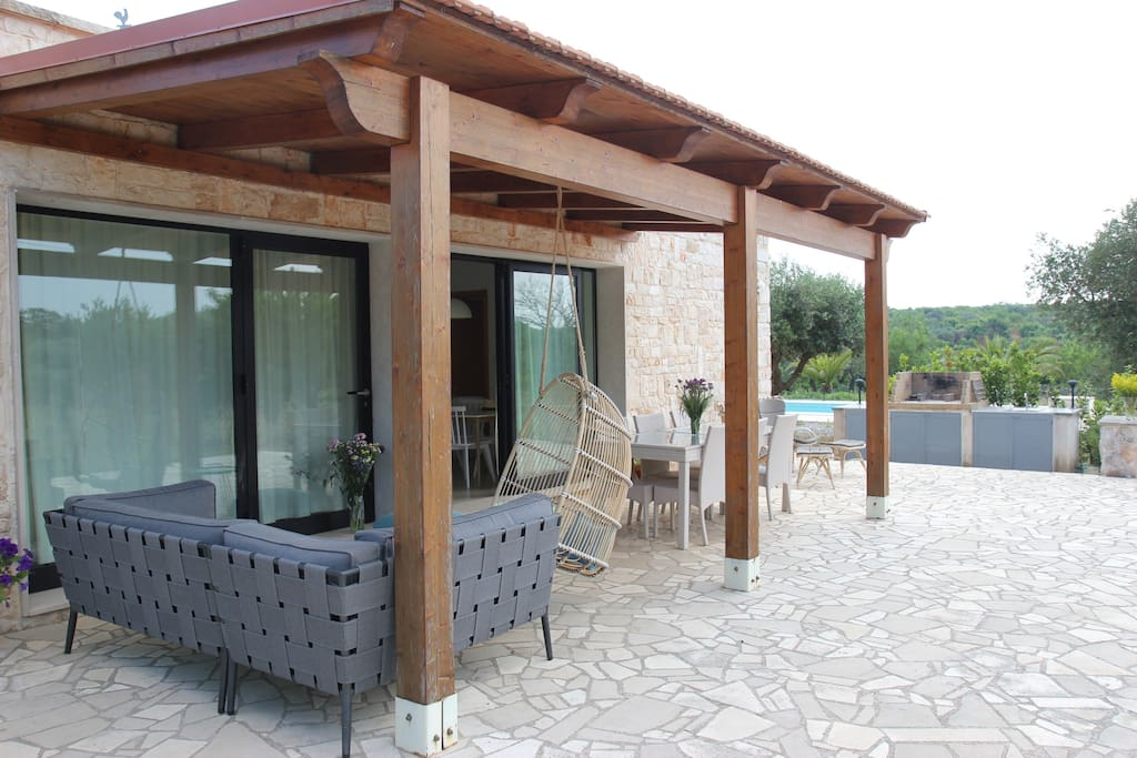 Outdoor patio with lounge in the shade