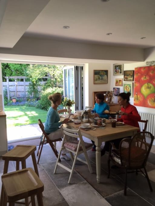 Breakfast is served in the spacious kitchen/dining room