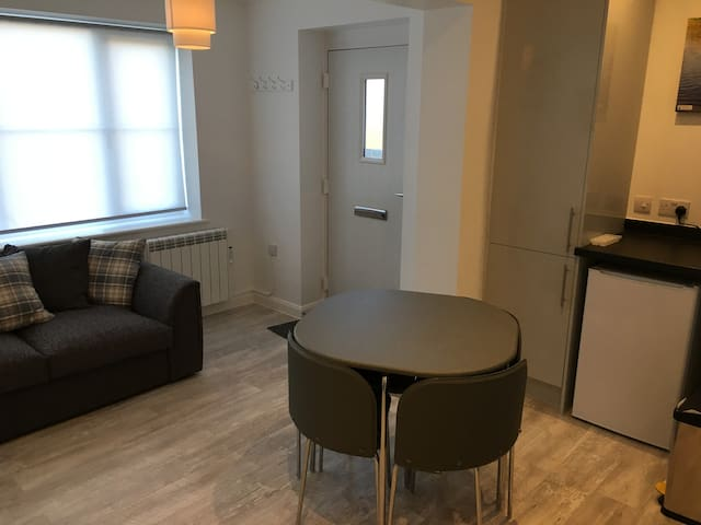 Front door from inside.  Small table and chairs for four.  Under counter fridge visible.  TV is left of sofa bed on wall mount.