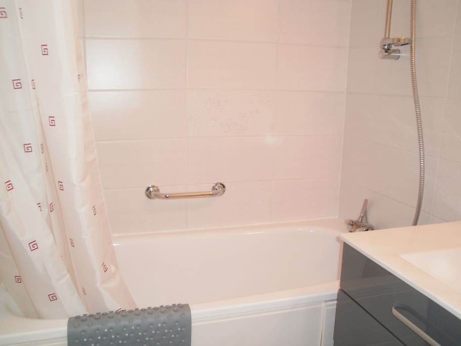 Separate bathroom with bath/shower and wash basin.